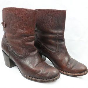 Frye Reddish Brown Heeled Short Boots